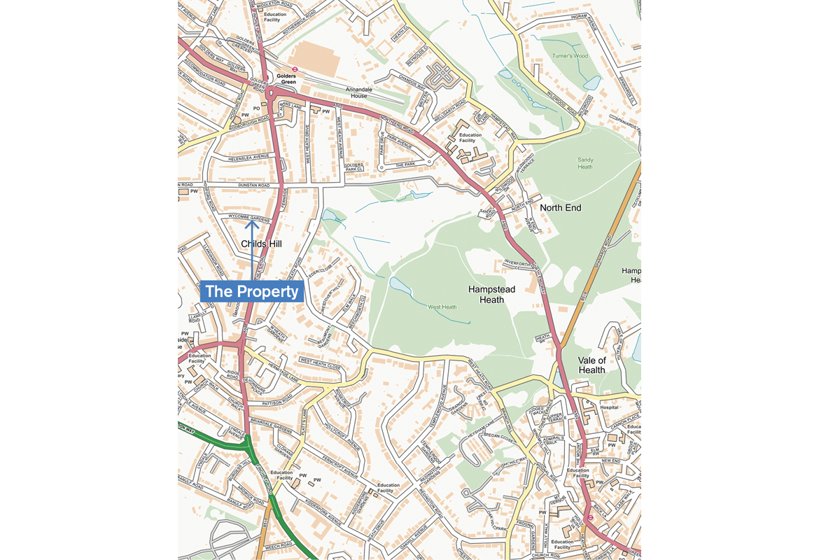 CHILDS HILL NW11 NW2 NW3.Golders Green Hampstead Heath West//Sandy Heath 2000 map